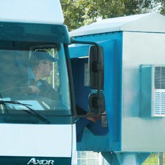 Truck driver entering a terminal